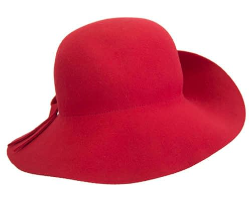 Fascinators Online - Unusual red felt wide brim hat by Max Alexander 6