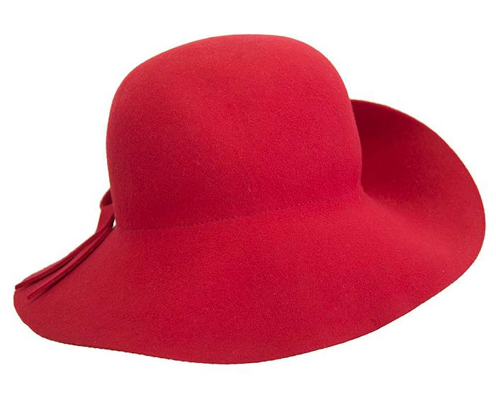 Fascinators Online - Unusual red felt wide brim hat by Max Alexander 6
