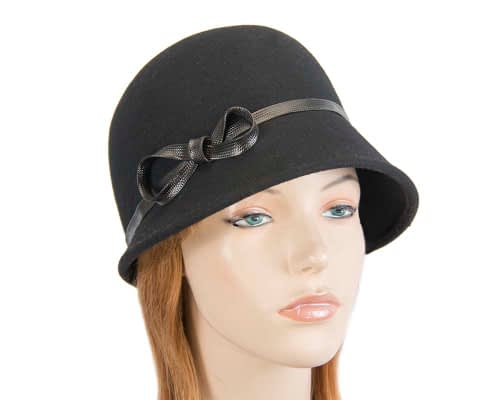 Fascinators Online - Black felt cloche hat by Max Alexander 19