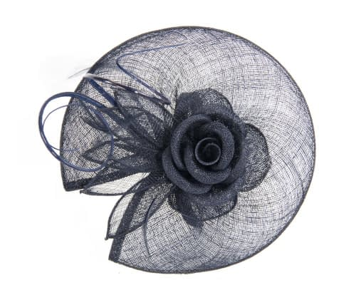 Fascinators Online - Large navy sinamay racing fascinator with feathers by Max Alexander 3