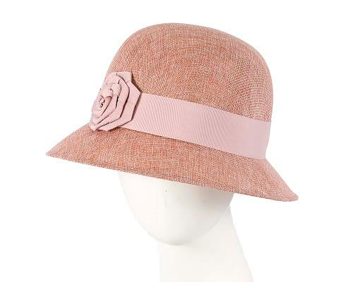 Fascinators Online - Dusty pink spring racing bucket hat 10
