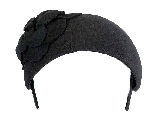 Fascinators Online - Wide headband black winter fascinator with flower by Max Alexander 3