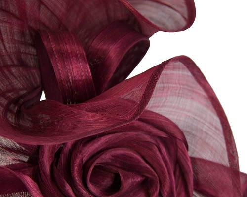 Fascinators Online - Wine sculptured silk abaca fascinator by Fillies Collection 3