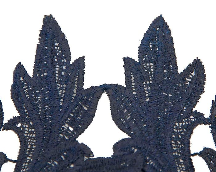 Fascinators Online - Navy lace crown fascinator by Max Alexander 3