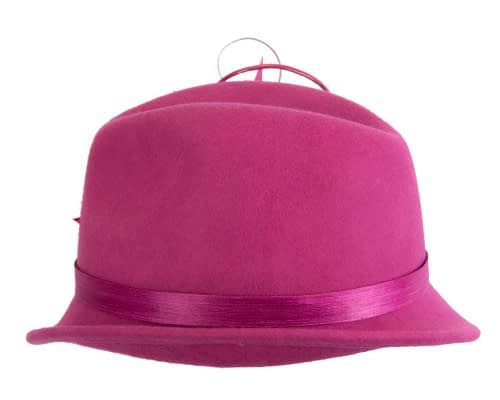 Fascinators Online - Exclusive fuchsia felt trilby hat by Fillies Collection 5