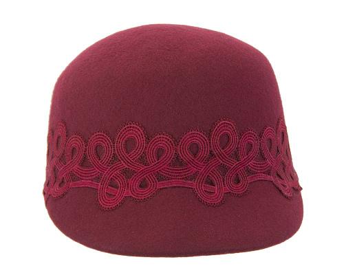 Fascinators Online - Burgundy wine felt ladies cap with lace 3