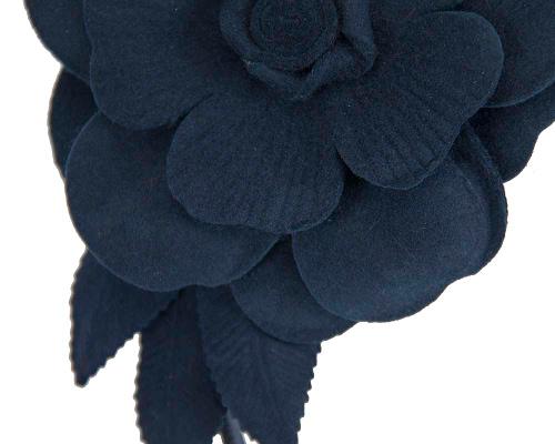 Fascinators Online - Navy felt flower fascinator by Max Alexander 3