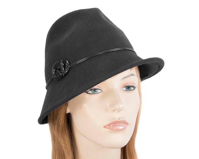Fascinators Online - Black felt trilby hat by Max Alexander 1