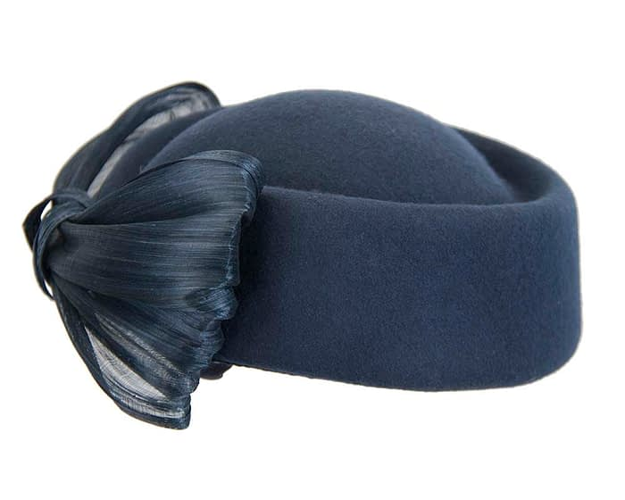 Fascinators Online - Navy felt ladies fashion beret hat with bow by Fillies Collection 6