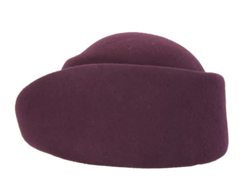 Fascinators Online - Designers burgundy felt hat 5
