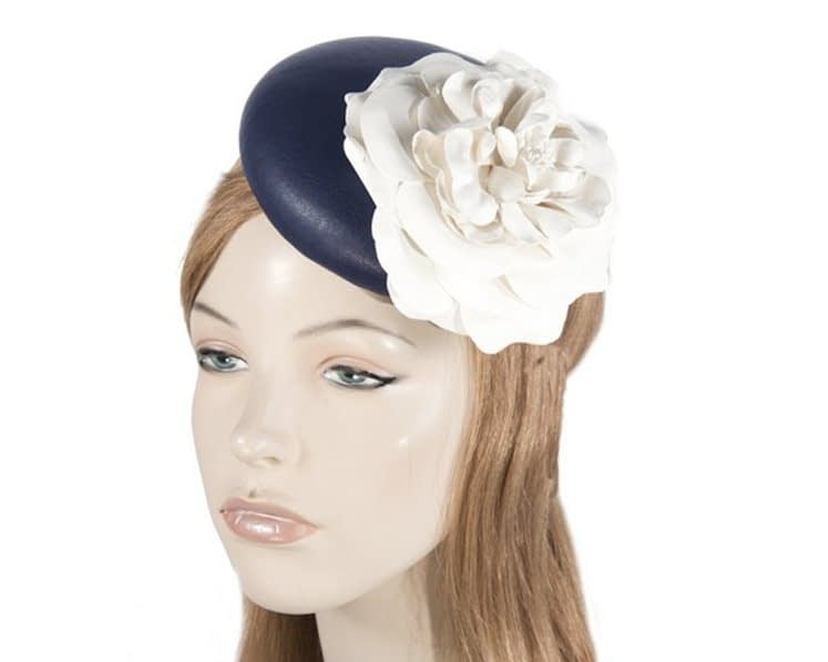 Leather navy fascinator with cream flower