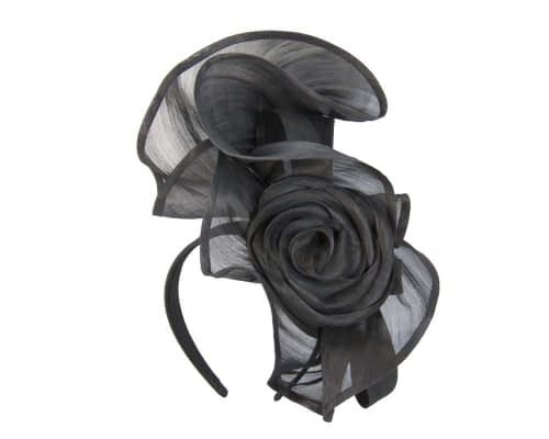 Fascinators Online - Black sculptured silk abaca fascinator by Fillies Collection 2