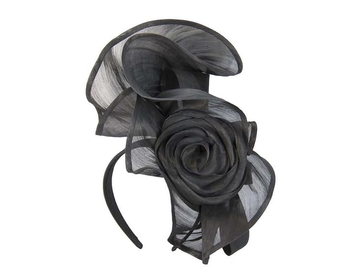 Fascinators Online - Black sculptured silk abaca fascinator by Fillies Collection 2