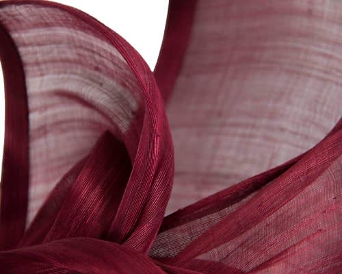 Fascinators Online - Burgundy wine twists of silk abaca fascinator by Fillies Collection 3