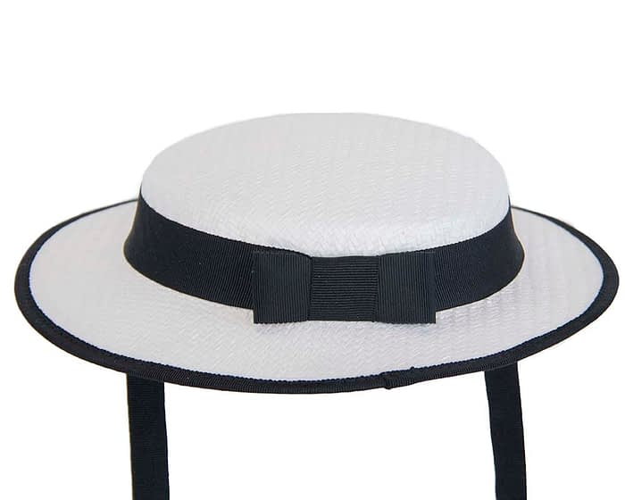 Fascinators Online - Small white & black boater fascinator hat by Max Alexander 5