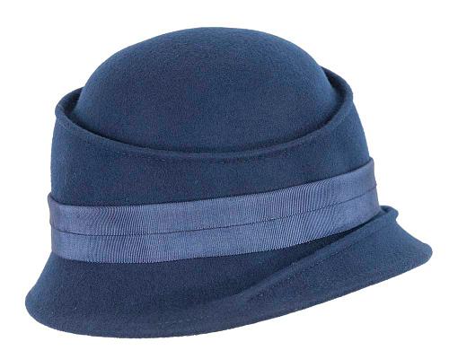 Fascinators Online - Navy ladies felt bucket hat 4