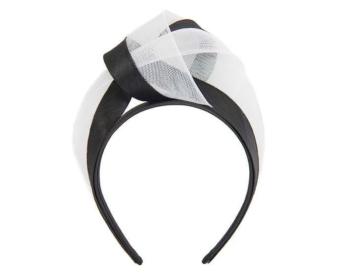 Fascinators Online - Black & white turban headband by Fillies Collection 2