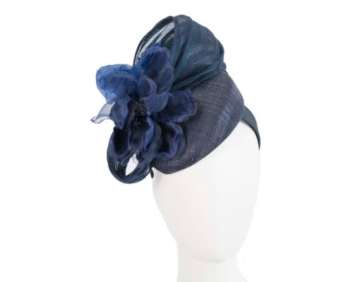 Fascinators Online - Navy pillbox fascinator with large flower by Fillies Collection 133