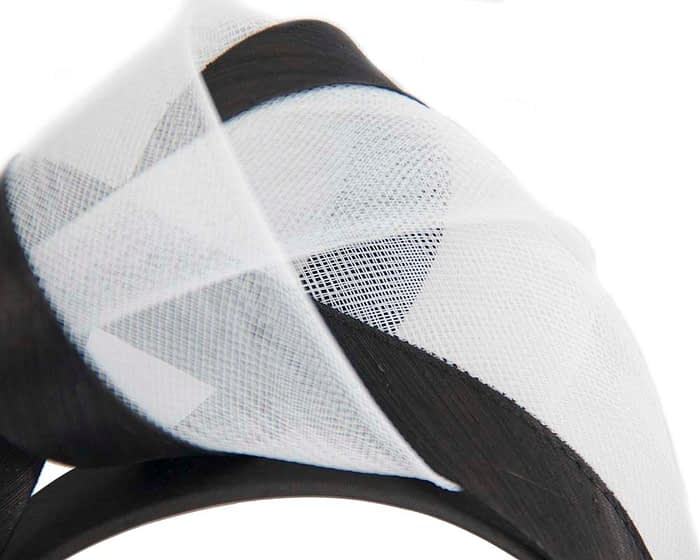 Fascinators Online - Black & white turban headband by Fillies Collection 3