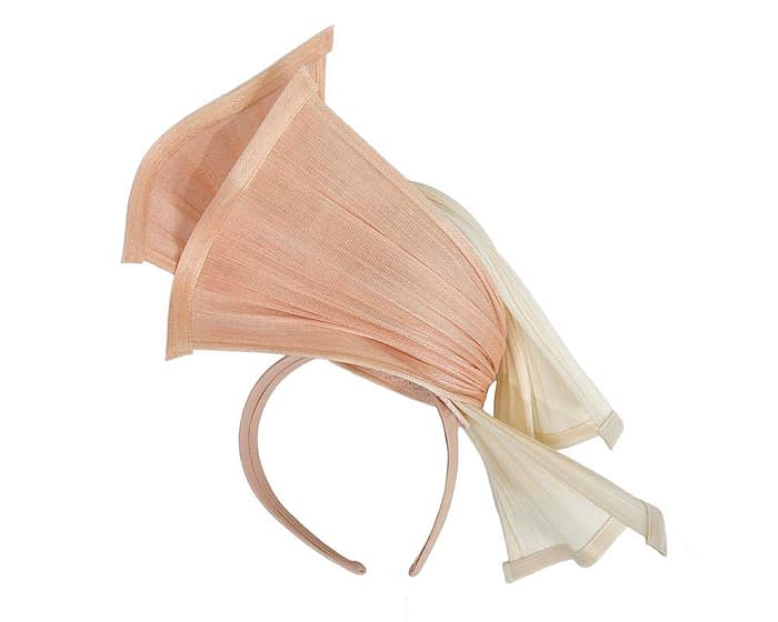 Fascinators Online - Twisted cream & nude jinsin racing fascinator by Fillies Collection 4