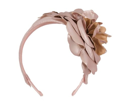 Fascinators Online - Rose gold leather flower headband fascinator by Max Alexander 2