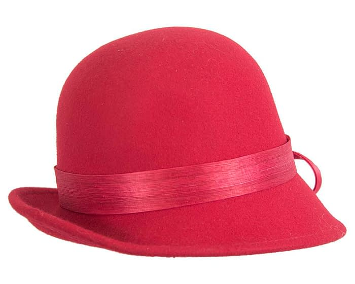 Fascinators Online - Exclusive red felt cloche hat with lace by Fillies Collection 3