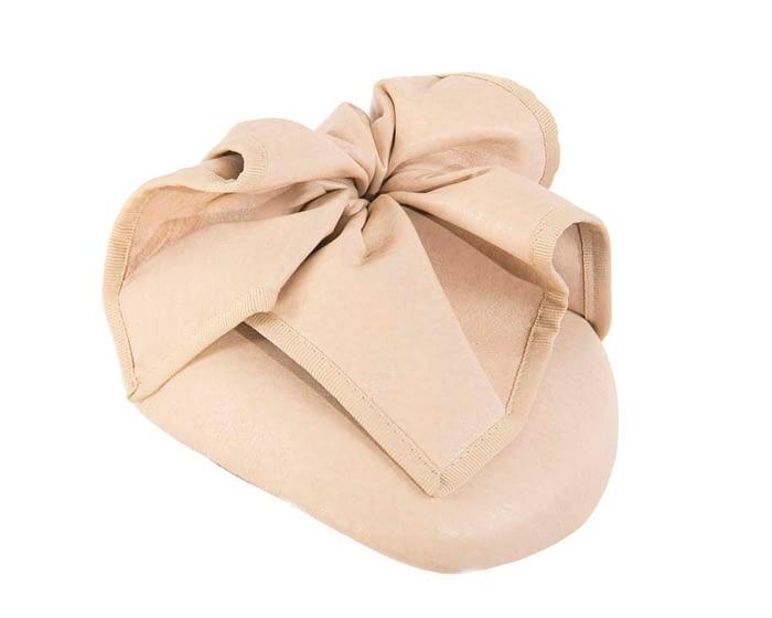 Fascinators Online - Nude leather pillbox fascinator by Max Alexander 2