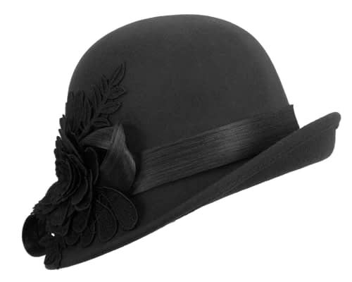 Fascinators Online - Exclusive black felt cloche hat with lace by Fillies Collection 4