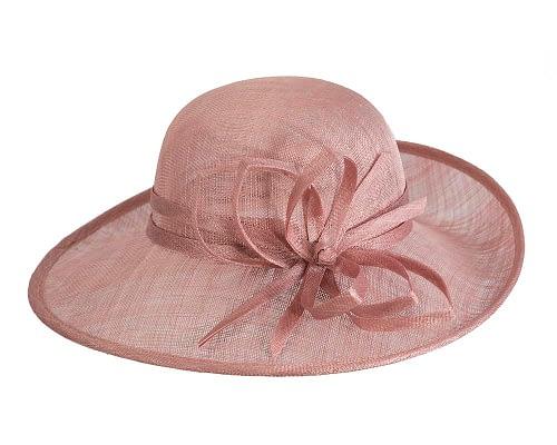 Fascinators Online - Dusty Pink ladies sinamay racing hat by Max Alexander 4