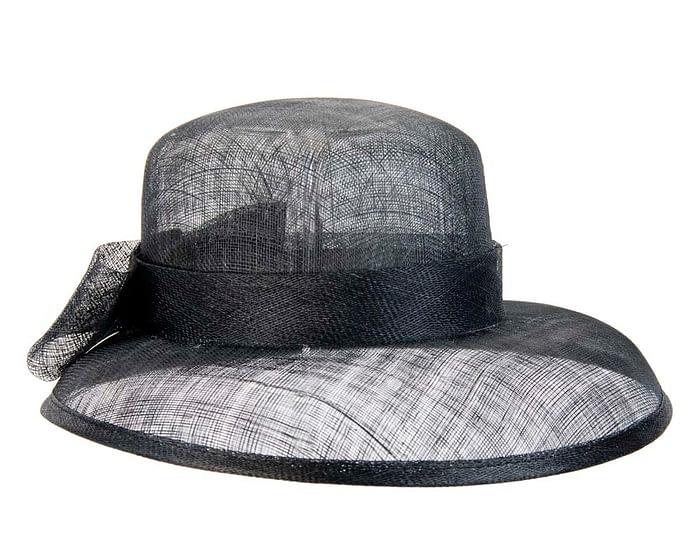 Fascinators Online - Black sinamay hat by Max Alexander 3