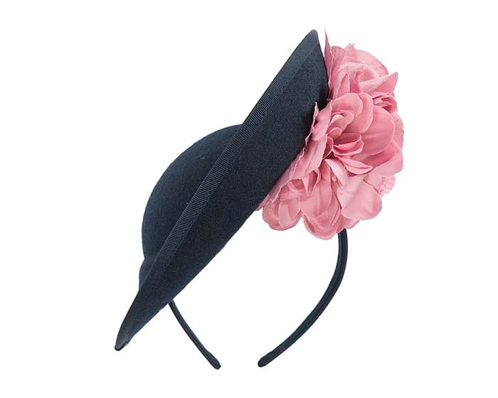 Fascinators Online - Large navy plate with pink flowers by Fillies Collection 5