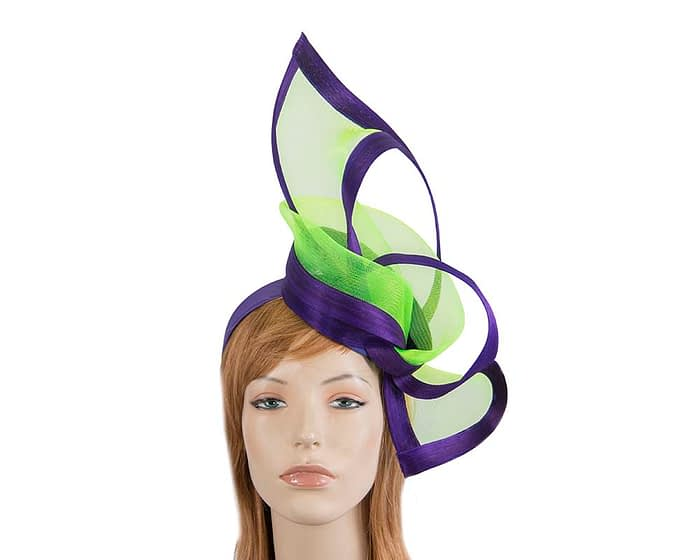 Fascinators Online - Edgy purple & lime fascinator by Fillies Collection 1