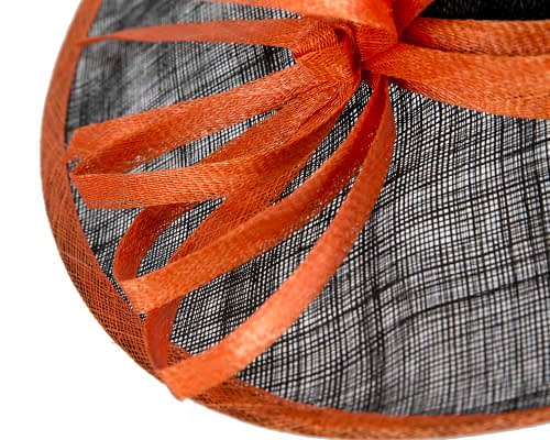 Fascinators Online - Black & Orange ladies sinamay racing hat by Max Alexander 5