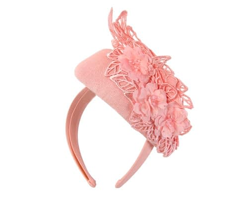 Fascinators Online - Pink pillbox with black lace by Fillies Collection 6