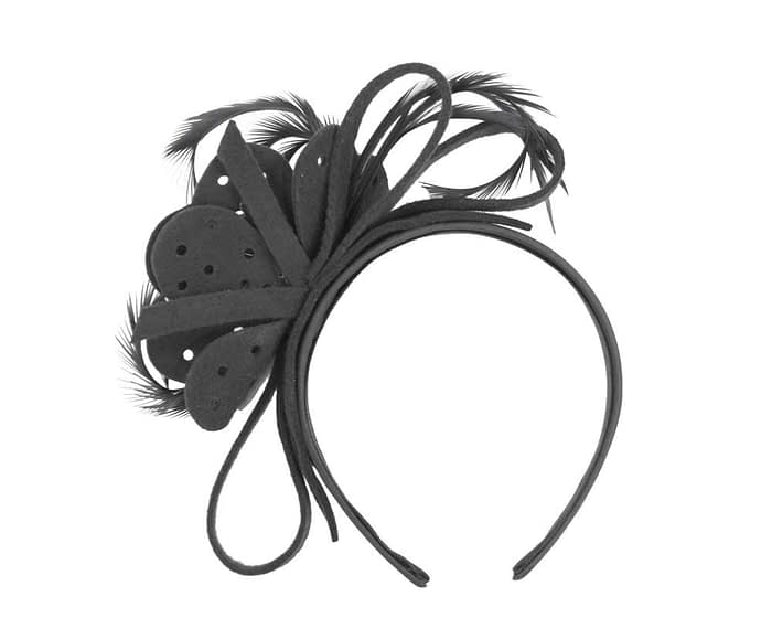 Fascinators Online - Black felt flower and feathers winter fascinator 4