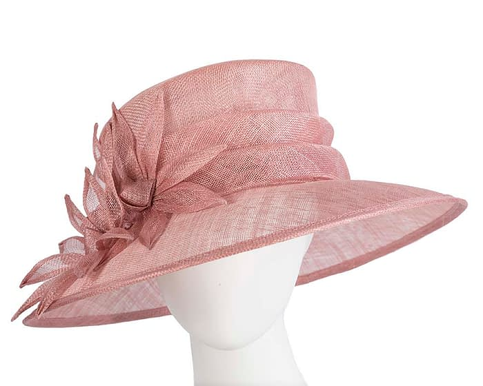 Fascinators Online - Large traditional dusty pink racing hat by Max Alexander 1