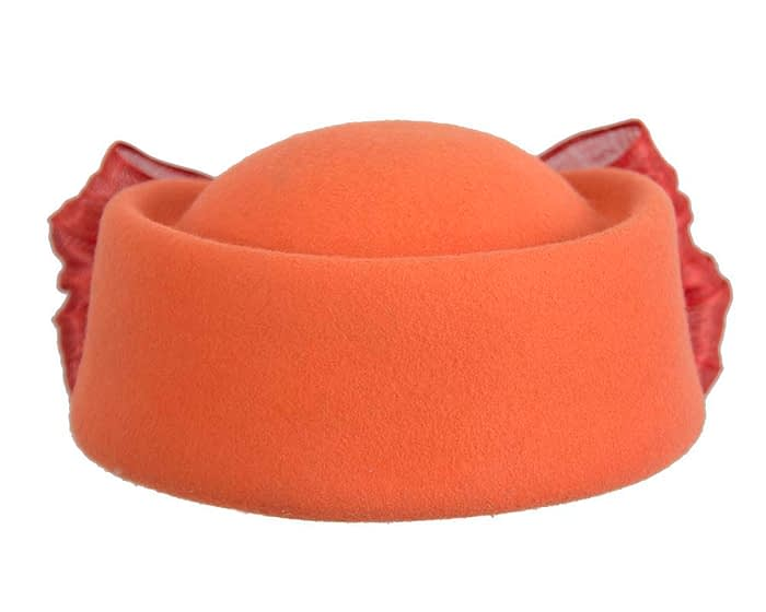 Fascinators Online - Orange felt ladies fashion beret hat with bow by Fillies Collection 4