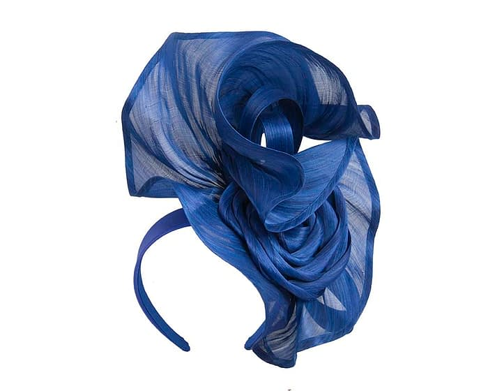 Fascinators Online - Royal blue sculptured silk abaca fascinator by Fillies Collection 2