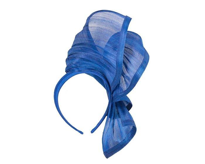 Fascinators Online - Royal blue twists of silk abaca fascinator by Fillies Collection 4