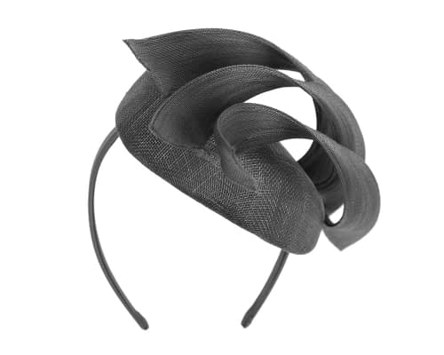 Fascinators Online - Black pillbox racing fascinator with jinsin trim by Fillies Collection 6