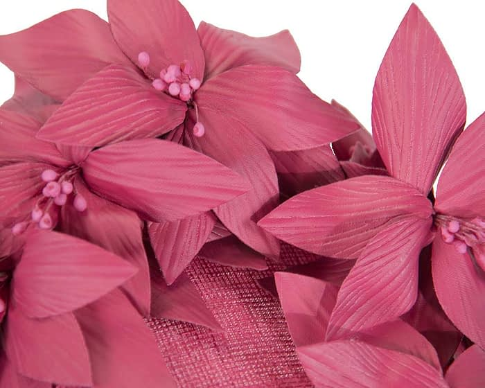 Fascinators Online - Fuchsia leather flower pillbox fascinator by Fillies Collection 5