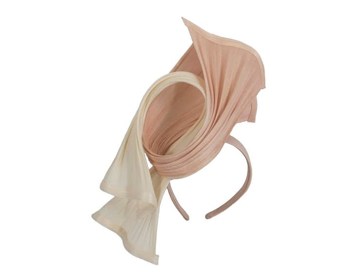 Fascinators Online - Twisted cream & nude jinsin racing fascinator by Fillies Collection 2