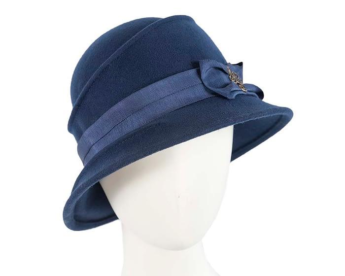 Fascinators Online - Navy ladies felt bucket hat 1