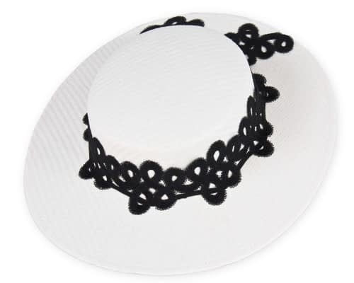 Fascinators Online - White & black fashionable boater hat with lace 2