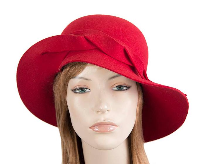 Fascinators Online - Unusual red felt wide brim hat by Max Alexander 1
