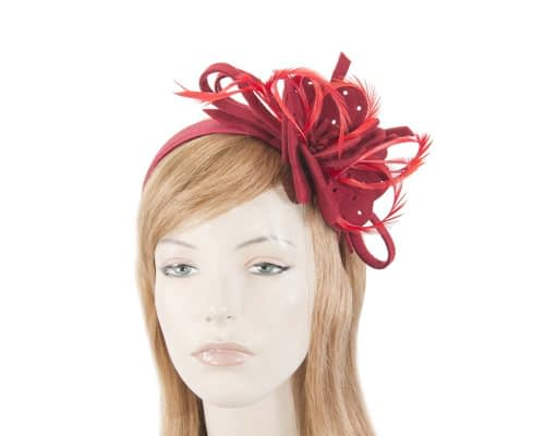 Fascinators Online - Red felt flower and feathers winter fascinator 10