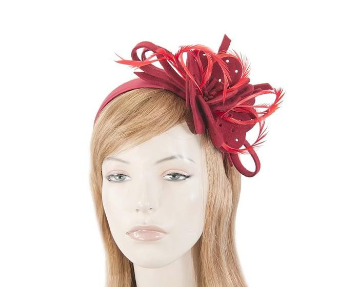 Fascinators Online - Red felt flower and feathers winter fascinator 1