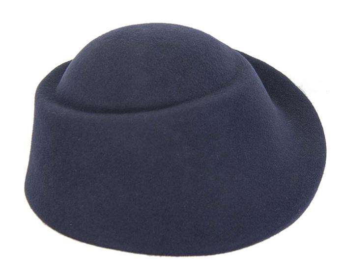 Fascinators Online - Designers navy felt hat 4