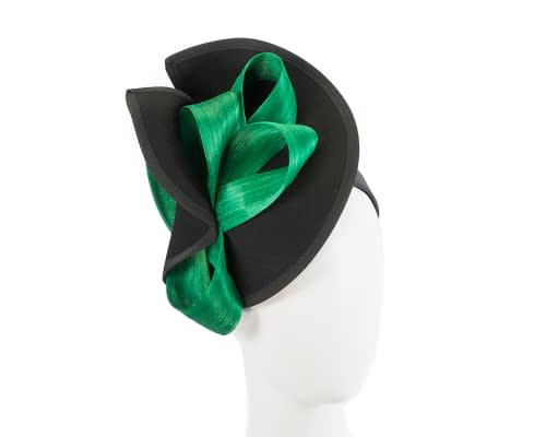 Fascinators Online - Black felt twist with green bow by Fillies Collection 1