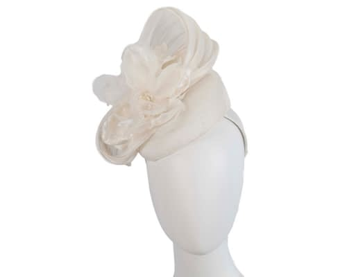 Fascinators Online - Cream pillbox fascinator with large flower by Fillies Collection 130